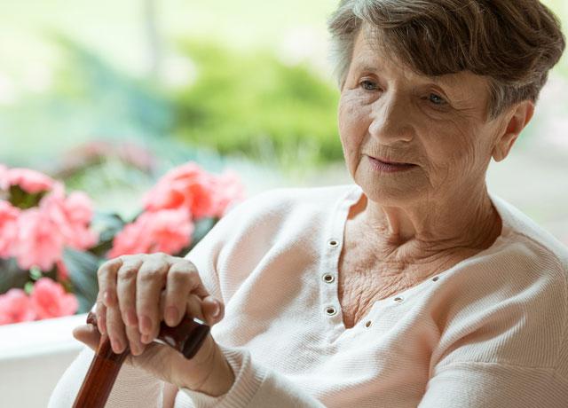 ältere dame am stock sitzt am fenster.