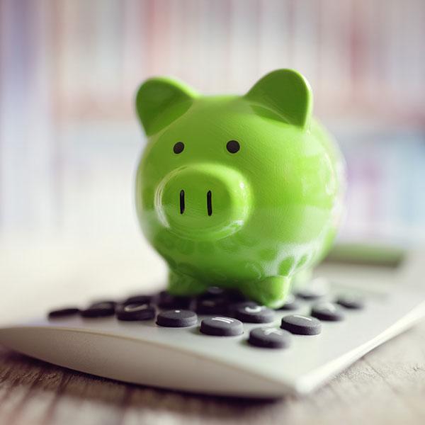 grünes Sparschwein liegt auf einem Taschenrechner.